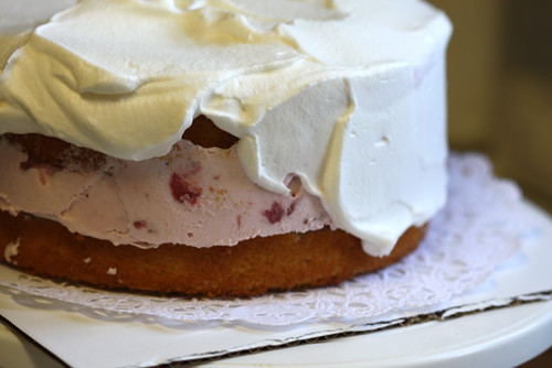 Strawberry and Vanilla Ice Cream Cake