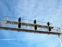 The Congress Park overhead block signal bridge at Prairie Avenue. Brookfield Illinois. December 2006<br />.