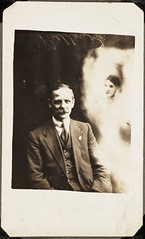Man with the spirit of his deceased first wife (National Media Museum) Tags: man sepia watches doubleexposure mother moustache paranormal occult seated espectro fantasma fraud grief espirito huckster spiritualist spiritphotograph nationalmediamuseum