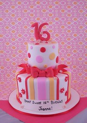 Sweet sixteen birthday cake (queene of tartes) Tags: pink cake stripes polkadots birthdaycake sweetsixteen