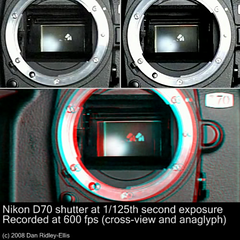 D70 shutter slow-mo 3D (Dan (aka firrs)) Tags: camera slr video stereoscopic 3d crosseye nikon d70 anaglyph casio stereo shutter slomo stereopair dslr exilim mechanism highspeed slowmotion crossview slowmo redcyan exf1 scaryrobotface