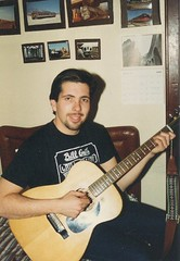 Eddie K practicing his guitar. Chicago Illinois. April 1989.