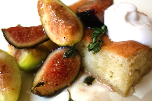 Olive Oil-Thyme Cak with Figs and Black Pepper