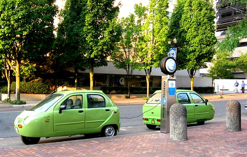 Electric cars in downtown Portland, Oregon