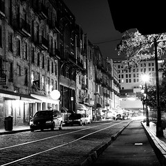 Savannah (Peter Gutierrez) Tags: photo united states us usa america american south southern east eastern georgia georgian savannah urban roads road street streets building buildings architecture night time nighttime nocturne nocturnal nacht notte noche nuit evening dark light shadow black white nero e bianco noir blanc bw square format peter gutierrez petergutierrez sidewalk pavement public ga film americana photograph photography