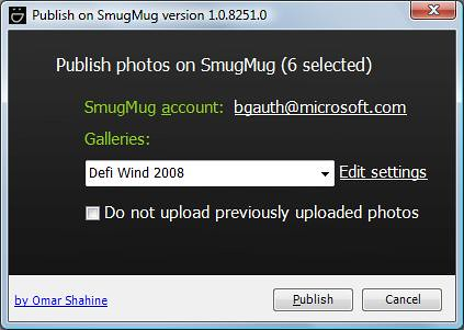 Smugmug and Windows Live Photo Gallery