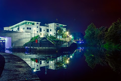 Lisburn Civic Centre at Night (gerard1972) Tags: bridge trees ireland light reflection tree water architecture night reflections river landscape nikon landmark calm northernireland civic civiccentre lisburn rnb lagan d80 nikond80 rnblagan