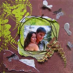 frre et soeur (Francoise MELZANI) Tags: freestyle couleurs scrap soeur frre fougres papillons papiers agrafes onirie cordelette
