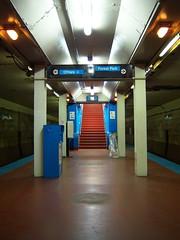 Division Blue Line Platform, 3something AM, pt. 2 (Kirkbride Palace) Tags: chicago illinois publictransportation blueline el nighttime subwaystation division