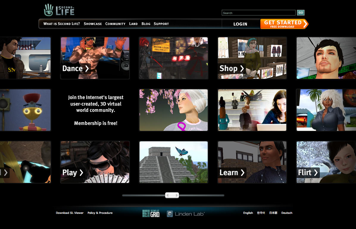 Second Life Home Page