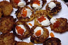 Potato Pancakes with Caviar and Creme Fraiche