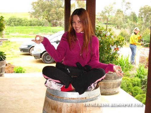 sitting on barrel
