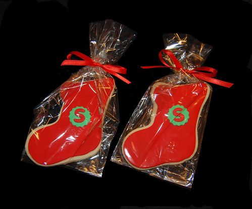 S monogram stocking sugar cookies