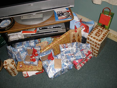 Christmas presents under the telly (we had no tree)