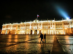 Russian Nights (` Toshio ') Tags: windows light people woman man color reflection building art history silhouette museum architecture night reflections stpetersburg person couple colorful europe shadows nightshot russia flag paintings perspective silhouettes cobblestone searchlight saintpetersburg hermitage winterpalace toshio catherinethegreat russianflag hermitagemuseum anawesomeshot aplusphoto rastrellisbaroquewinterpalace