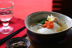 ozoni (rice cake soup for Japanese New Year) (Miki Nagata (bananagranola)) Tags: food cooking japan japanese soup dish traditional newyear homemade japanesefood mochi ricecake zoni ozoni