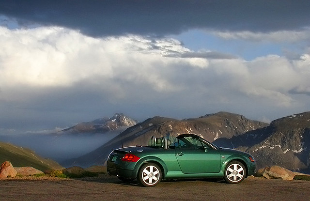 mountains green clouds landscape colorado convertible rmnp rockymountainnationalpark auditt