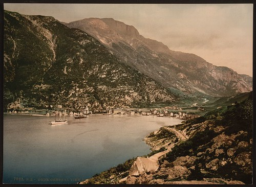[General view from fjord, Odde, Hardanger Fjord, Norway] (LOC)