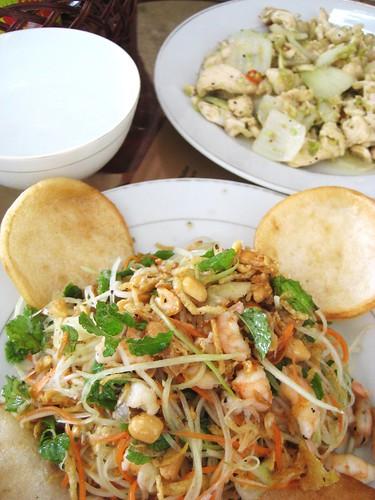 Papaya salad and chili chicken at Cafe 43, Hoi An, Vietnam
