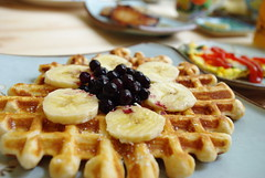 Sunday Waffles (bunbunlife) Tags: morning sunday grain whole blueberry waffles bannana flax