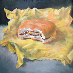 Cheese Burger (fRiedl aRt) Tags: cheese painting burger friedl rockford artfriedl