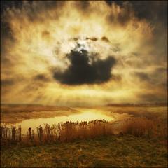 Skies over the marsh (adrians_art) Tags: morning trees light sky plants cloud mist water weather fog reflections reeds bravo rivers marsh rays beams aplusphoto lightiq