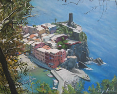"""Cinque Terre, Italy"" (AlysonJonesStudios) Tags: ocean trees sea italy cliff beach water buildings painting landscape boats jones dock europe acrylic cityscape view alyson villa terre cinque"