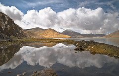 The Mirror of Magnificence (tripowski) Tags: china travel cloud mountain lake snow reflection water landscape nikon highway altitude karakoram kkh karakul tamron cpl pamir d80 karakuli