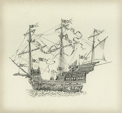 Fantasy sailing vessel (Yaroslav Gerzhedovich) Tags: illustration pen ink paper ship drawing flag banner vessel medieval fantasy sail ornate intricacy
