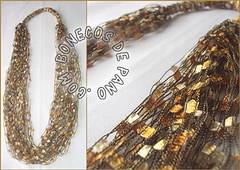 .:. Colar Mosaico - Dourado .:. (Bonecos de Pano .Com) Tags: colarartesanal colardelinha colarmosaico