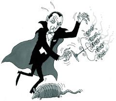 Transylvanian Menace (Tom Bagley) Tags: canada calgary illustration 1931 vampire cartoon dracula universal sharpie southerncalifornia transylvania armadillo markers sharpies candelabra belalugosi magicmarkers todbrowning tombagley ffwdweekly videovulture