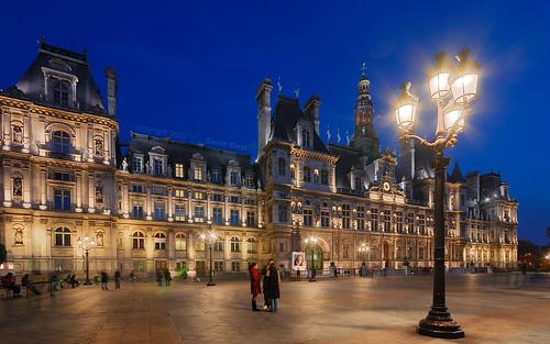 paris city. Blue Hour On Paris City Hall