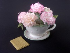 Do you take Carnation(s) in your coffee ? .. (abbietabbie) Tags: cup coffee coffeecup sugar explore biscuit carnation saucer blueribbonwinner gumpasteflower sugargumpaste