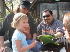 Liele feeds the lorikeets. (04/24/2008)