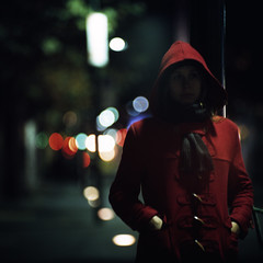 red (memetic) Tags: street city red urban 120 6x6 girl night mediumformat lights downtown fuji bokeh tl coat hood provia p6 swanstonst pentaconsix sonnar 180mm 400x