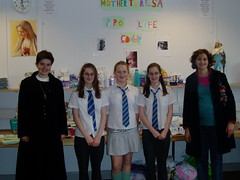 Sr Andrea, some Holyrood High School students and Elain.