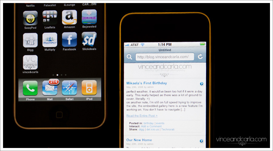 iPhone Optimized website with homescreen logo customized