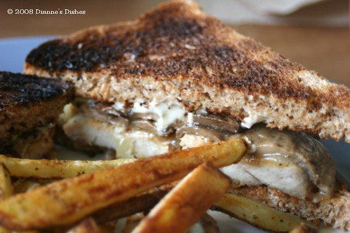 Grilled Chicken Sandwich On Whole Wheat Bread With Grilled Mushrooms And Provolone