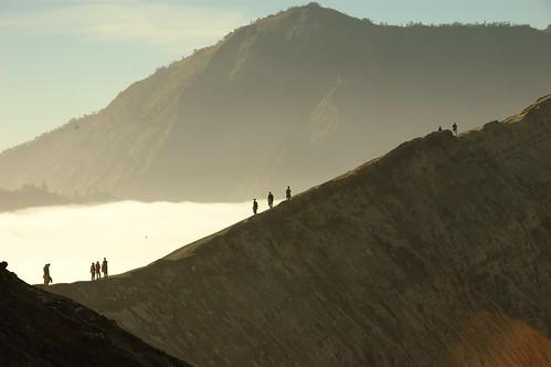 Walking at the crator edge of Mount Bromo