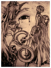 The Reapers Bite (Kick Rox Jewelry) Tags: trees tree art rose angel dark death weird sketch tears gallery grim reaper drawing snake unique magic gothic spell fantasy devil prints cloak crow paranormal magical wicca omen wiccan cloaked beadifulgypsysart