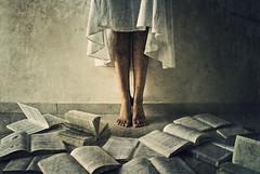 There's No Escaping It (stephaniedan) Tags: old selfportrait vintage books stephanie procrastination conceptual whitedress stephaniedan dangoor goldstaraward 2bdasest