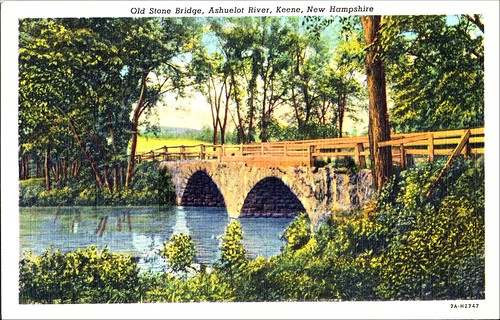 Arch Bridge, Keene NH, by Genuine Curteich, Chicago IL, Photographic postcard, Keene Public Library,