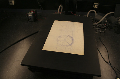 SIW architectural drawing on vacuum table.
