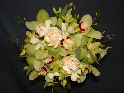 This pretty green and white bouquet will go well with you green and black