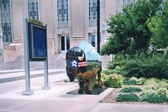 Starry-Eyed Buffalo (aimeedars) Tags: aimeedars summer 2004 buffalo spiritofthebuffalo oklahoma ok publicart paintedbuffalo paintedsculpture painted statue