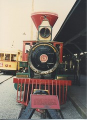 Front view of ex Smokey Mountain Railroad 2-6-0 # 23. The Chattanooga Choo Choo Hilton Hotel. Chattanooga Tennesee. May 1990.