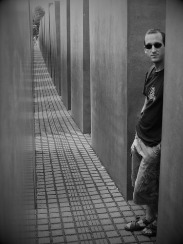 Angled friend shot in Berlin's Holocaust Memorial