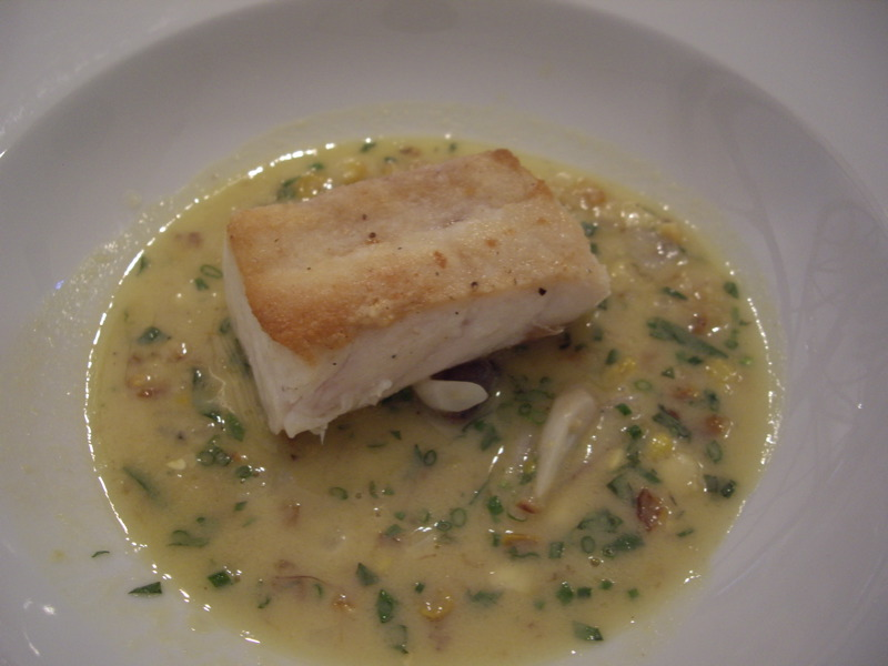 Barrelfish with sweet corn chowder