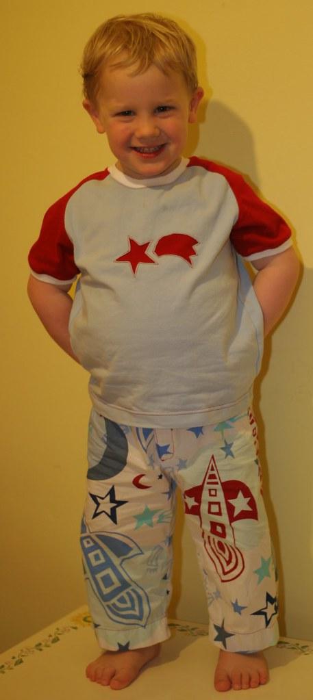 Rocket pants and shooting star shirt