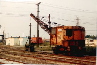 Grand Trunk Western Railroad M.O.W Burro crane at the abandoned Elsdon Yard site. Chicago Illinois. September 1987. by Eddie from Chicago